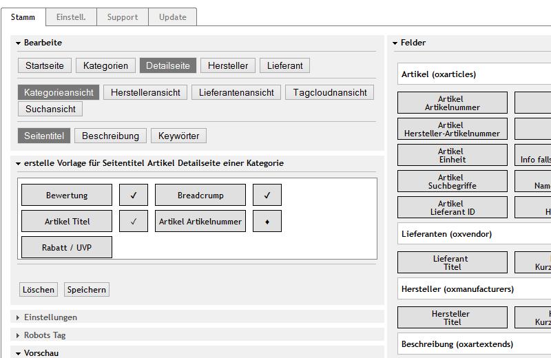 Metatag Modul für OXID eShop