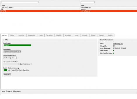 OXID Shop Import Modul für CSV und TXT Dateien