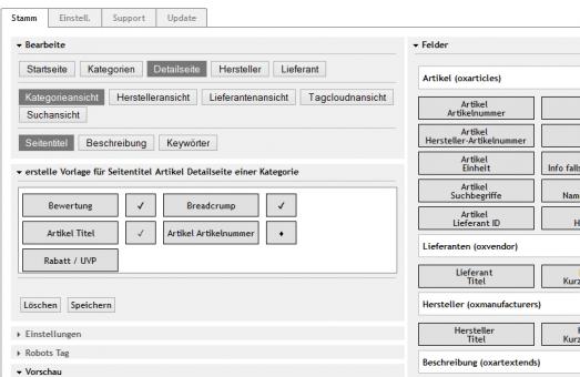 Metatag Modul für OXID eShop CE