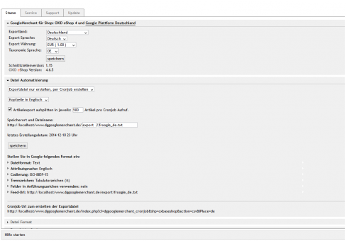 OXID eShop Modul Google Shopping Merchant Export Schnittstelle